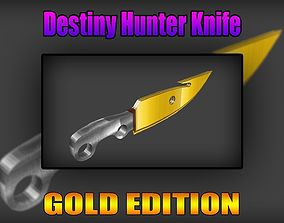 3D asset Destiny Hunter Knife Gold Edition