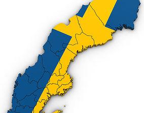 3D Political Map of Sweden