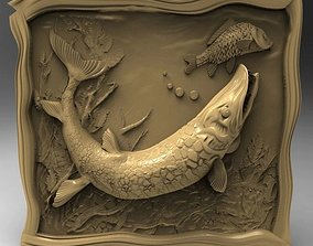 Pike fish 3D Model STL relief Decoration