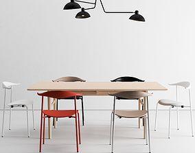 Carl Hansen Dining Set and Waldorf Triple Light 3D