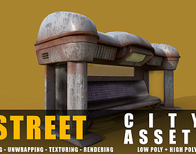realtime bus stop old game ready street assets low poly 2