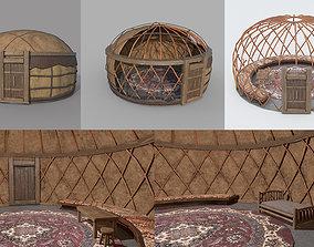 3D asset Old Mongolian Yurt and Interior
