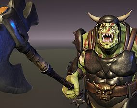 Orc Ogre with Armor and Axe 3D model animated