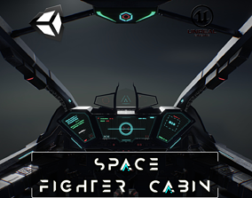 3D asset realtime Space Fighter Cabin Game Ready 4K