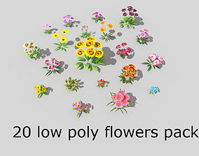 20 low poly flowers pack 3D asset