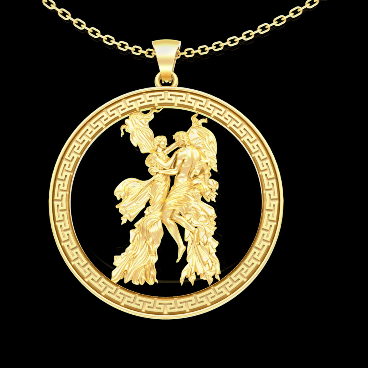 Romantic dance in the wind Pendant jewelry Gold-A 3D print model