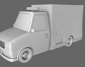3D model Cartoon Van Police Ambulance
