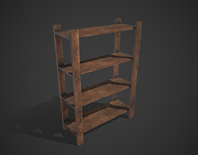 Old Medieval Wooden Shelf 3D model