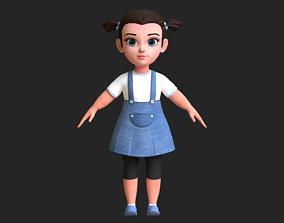 low-poly Cartoon Kid Girl 3D model