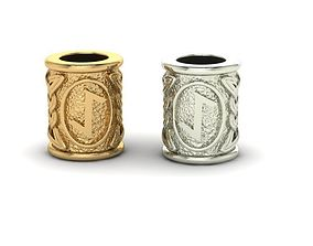 jewelry Beads with celtic rune Eihwas 3D print model