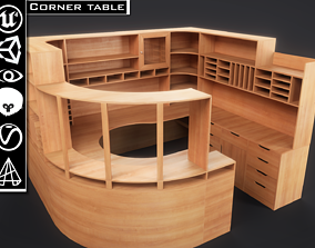 Corner table Computer desk 3D model low-poly