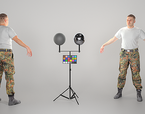 Bundeswehr soldier in white t-shirt ready for 3D asset 1