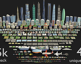 Tile pack city 3d low poly low-poly