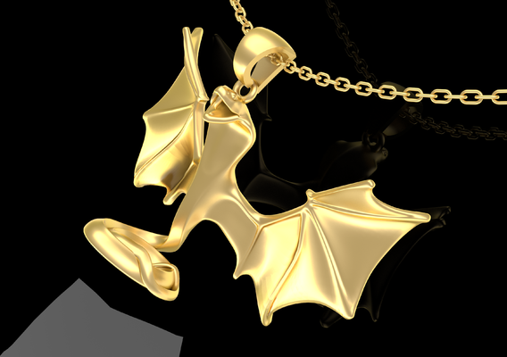 Winged Snake Sculpture Pendant Jewelry Gold 3D print model