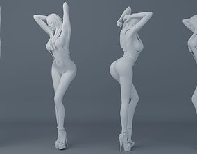 3D printable model Long hair girl wearing bikini 001