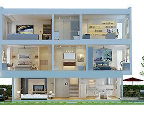 3D model CUTAWAY MODERN HOUSE FULL FURNITURES