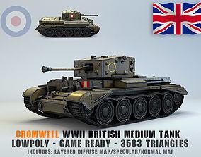 3D asset Low Poly Cromwell medium tank