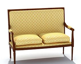 Stylish Classic Gold Cushioned Bench 3D model