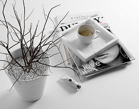 3D model Morning Composition with Magazines Coffee and 1