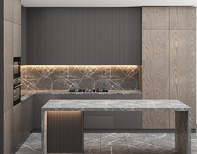 Modern kitchen with Island wood 3D