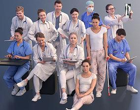 1009 - Medical Bundle Doctors Nurses Patients Hospital 3D
