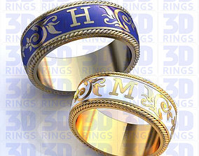 Wedding Rings with enamel 689 3D