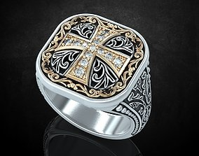 Ring with patterns and a cross 3D printable model 3