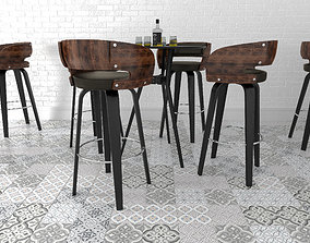 3D model Bar stool set 1010