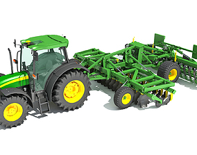 3D Tractor with Seed Drill seeder