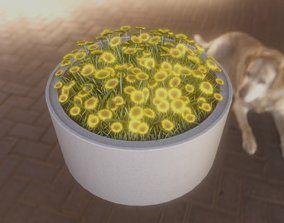 Concrete Pipe Pot 1500mm with Small Sunflowers 3D model 1