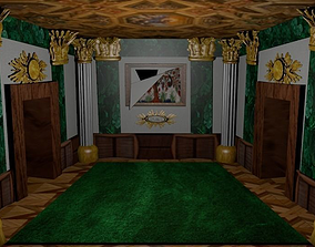 3D asset Museum room with ripped painting