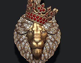 Leon pendant with diamonds and 3D print model