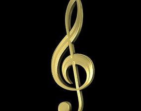 3D model Golden Musical Clef
