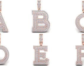 Capital Alphabet Diamond Pendants 3d Model print