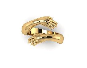 Hug ring hands ring 3D print model