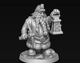 Dwarf miner with lantern 3D printable model