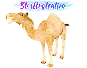 3D asset Low Poly Camel Illustration Animated - Game
