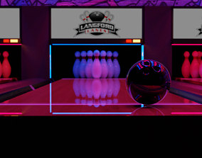 Bowling alley with neon lights 3D