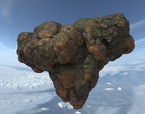 3D asset Low poly Brown Floating Island Mossy Rock 08