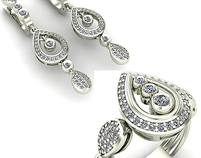 jewelry rings 3D WOMAN SET RING AND EARRINGS