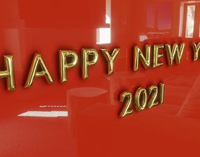 Happy New Year Balloon Text 3D