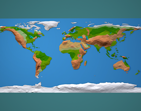 Low Poly World Map 3D model