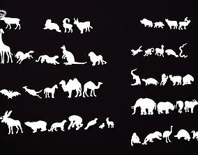 Animal silhouettes 3D printable model sticker
