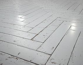 White Painted herringbone parquet - PBR textures 3D asset