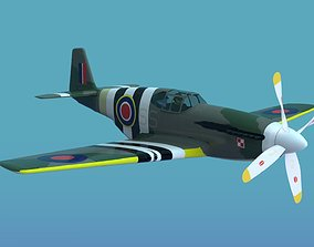 P51B Mustang wwII airplane 3D model