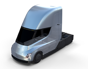 Tesla Truck with Chassis Silver 3D model
