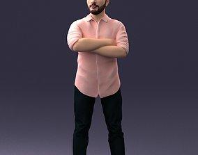 3D model Man in pink t-shirt 1121