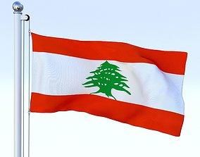 3D asset Animated Lebanon Flag