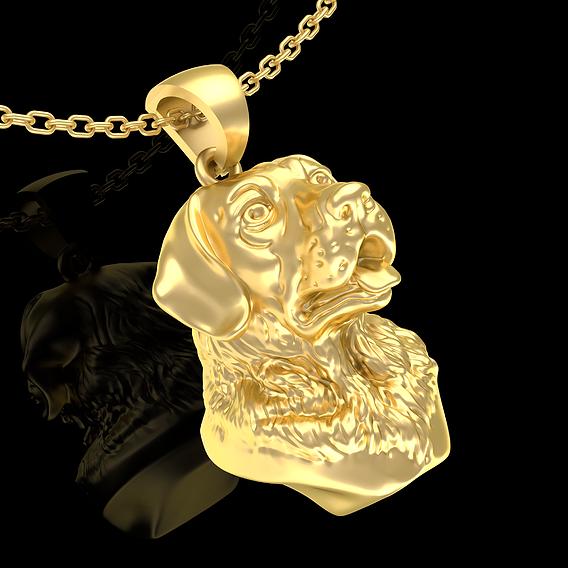 Labrador Dog head Sculpture Pendant Jewelry Gold 3D print model