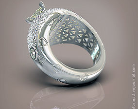 Ring with trillion gem and many 3D printable model 4